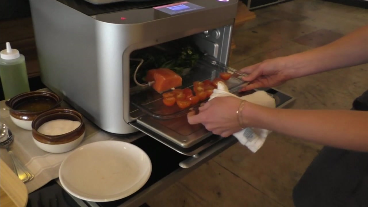 The Brava oven can cook three different types of food at the exact same time in less time that it takes to heat a conventional oven.