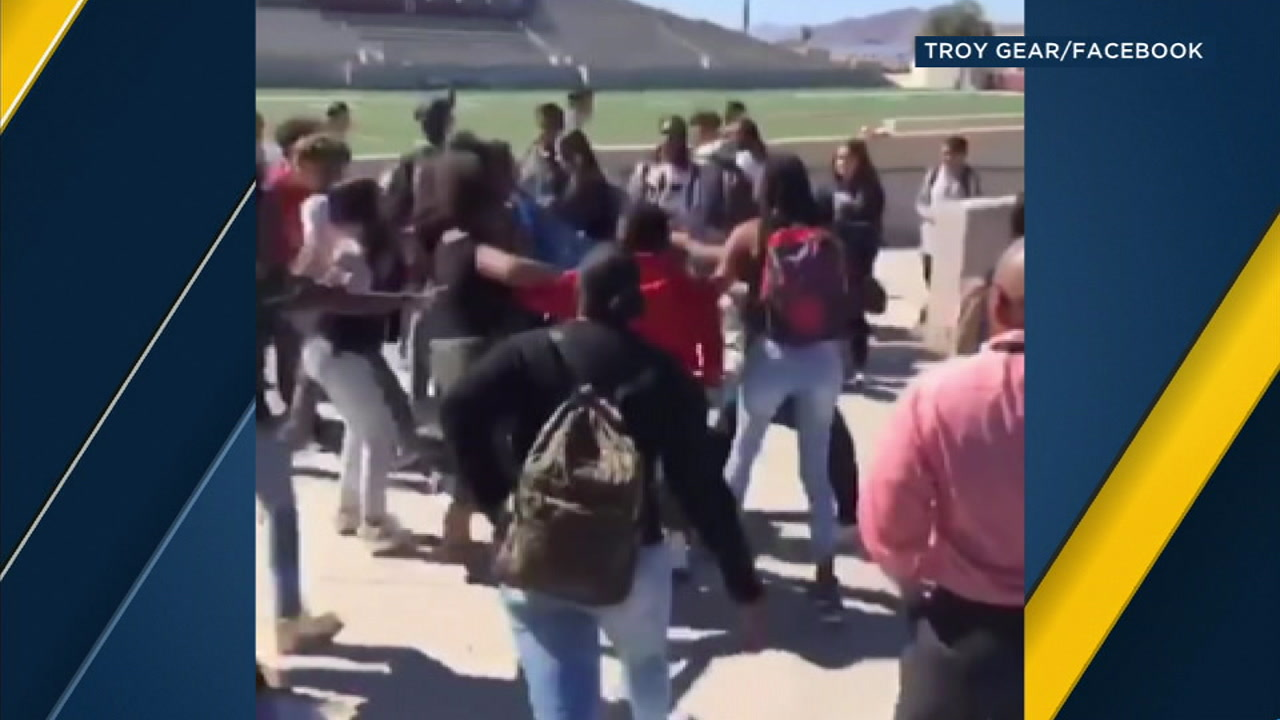 Several students are seen involved in an altercation on the campus of West Valley High School on Wednesday, Oct. 17, 2018.