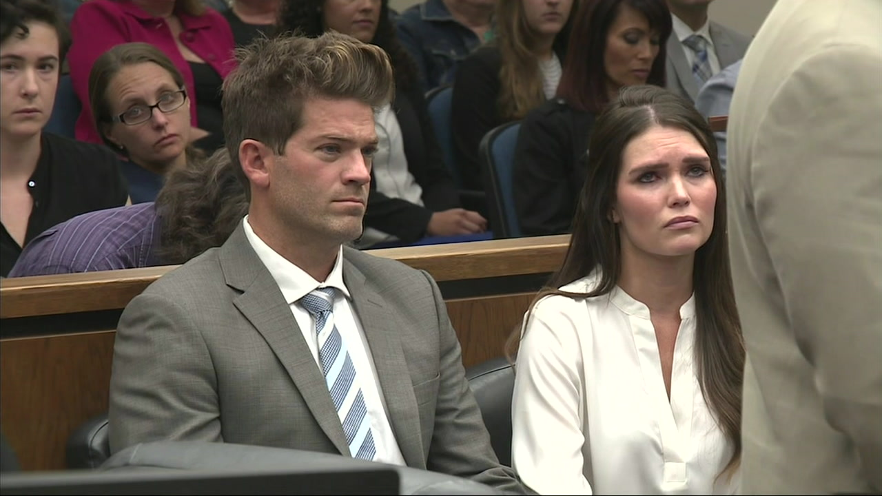 Grant Robicheaux and his girlfriend Cerissa Riley are shown in court on Wednesday, Oct. 17, 2018.