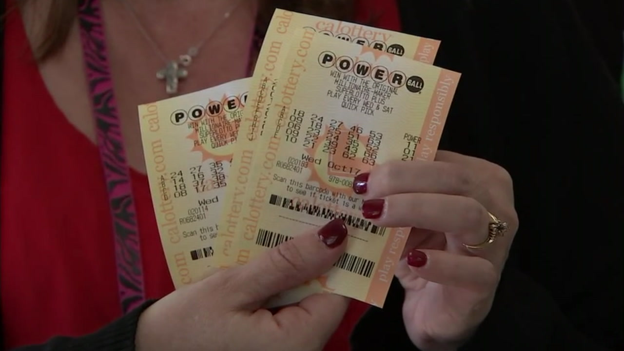Powerball tickets are shown in a photo after a customer purchased them at a Chino Hills 7-Eleven store.