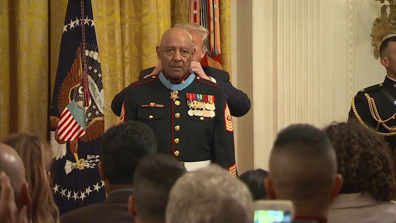 Retired Sgt. Maj. John Canley received the Medal of Honor from President Donald Trump on Wednesday, Oct. 17, 2018.