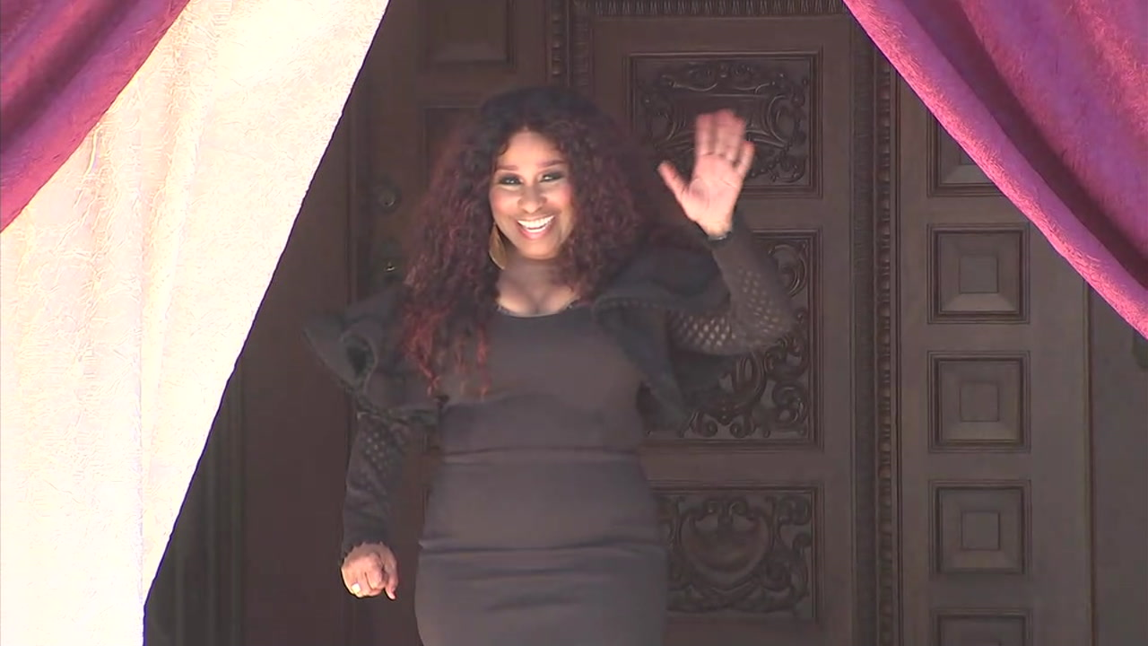 Chaka Khan walks out of the Tournament House in Pasadena after being announced the 2019 Tournament of Roses grand marshal.