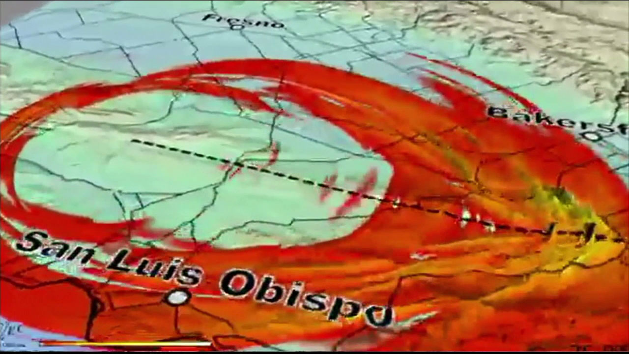 A graphic shows how an earthquake happens and then spreads.