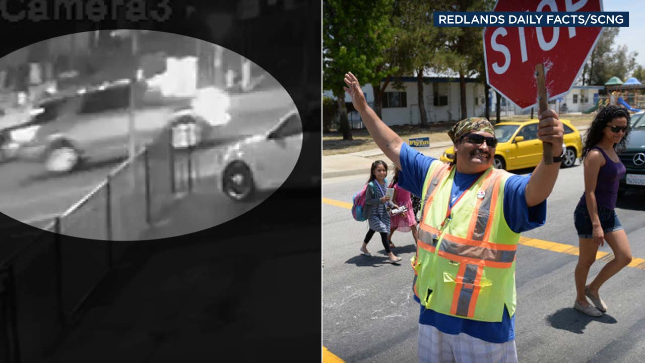(Left) A surveillance image shows an SUV involved in a deadly hit-and-run crash. (Right) Crossing guard Leonard Ortiz is seen in a photo from Redlands Daily Facts/SCNG.