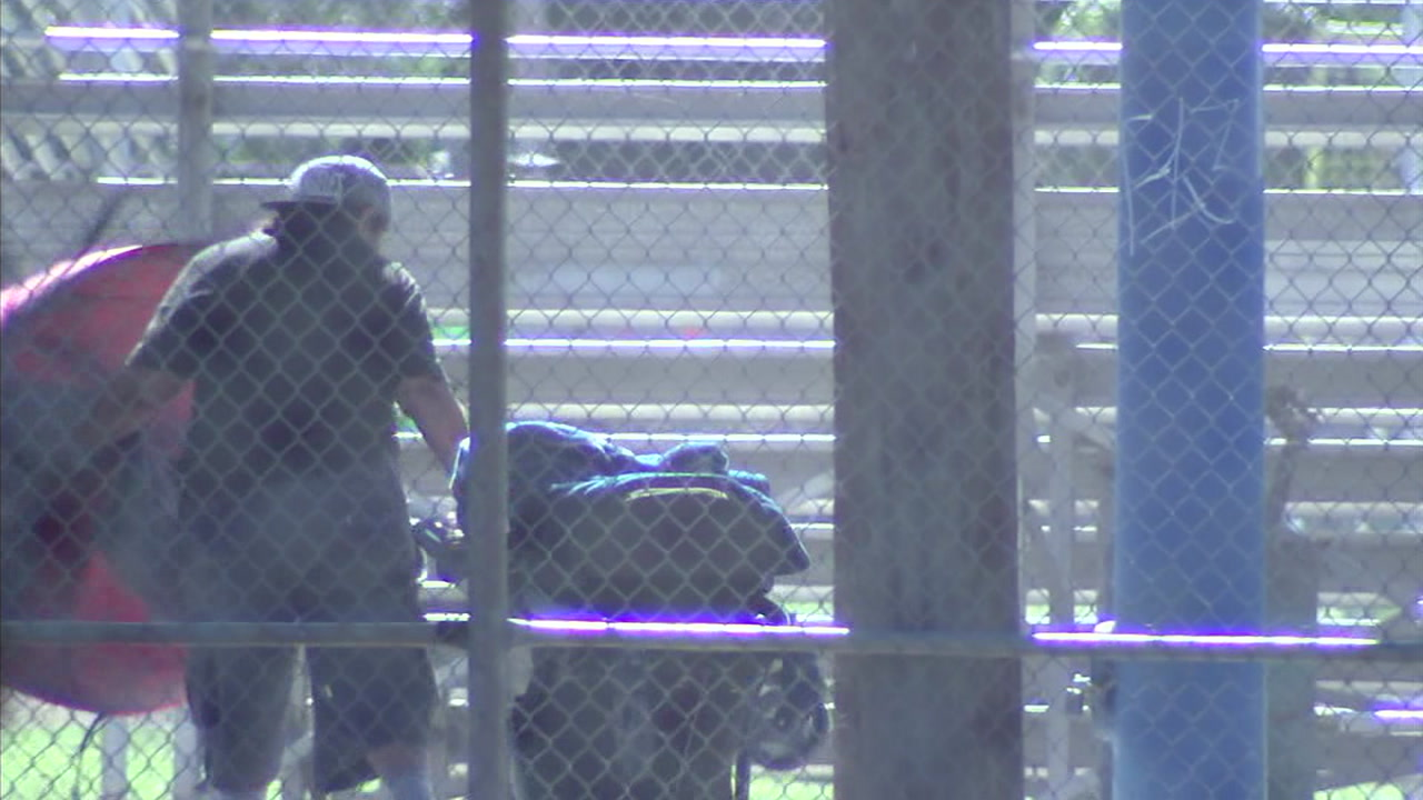 A homeless man is seen at Del Norte Park in West Covina.