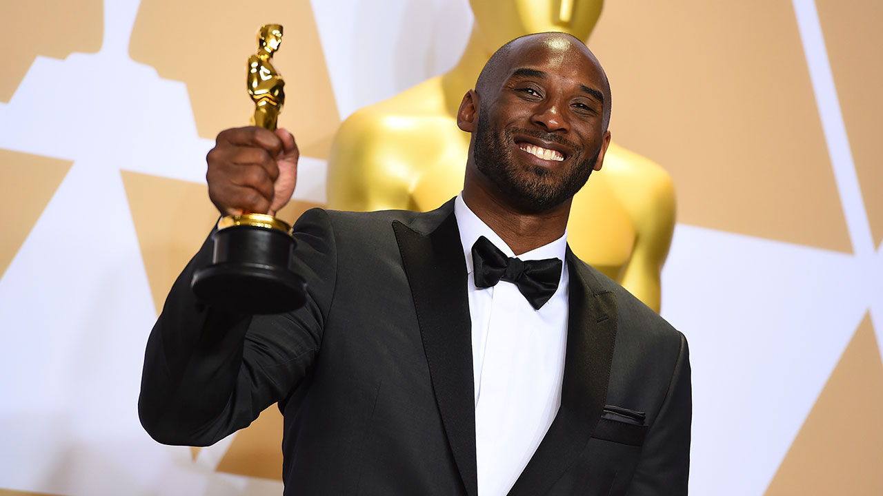 Kobe Bryant, winner of the award for best animated short for Dear Basketball, poses in the press room at the Oscars on Sunday, March 4, 2018.