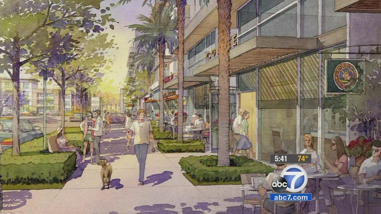 Anaheim city officials will vote on a scaled-down project Tuesday that will turn the area around Angel Stadium into a shopping and condo district.