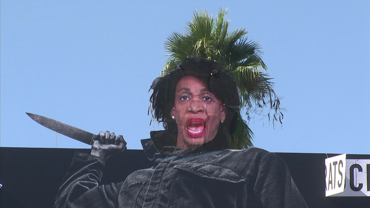 An advertisement promoting the new Halloween film was altered to show Rep. Maxine Waters holding a butcher knife.