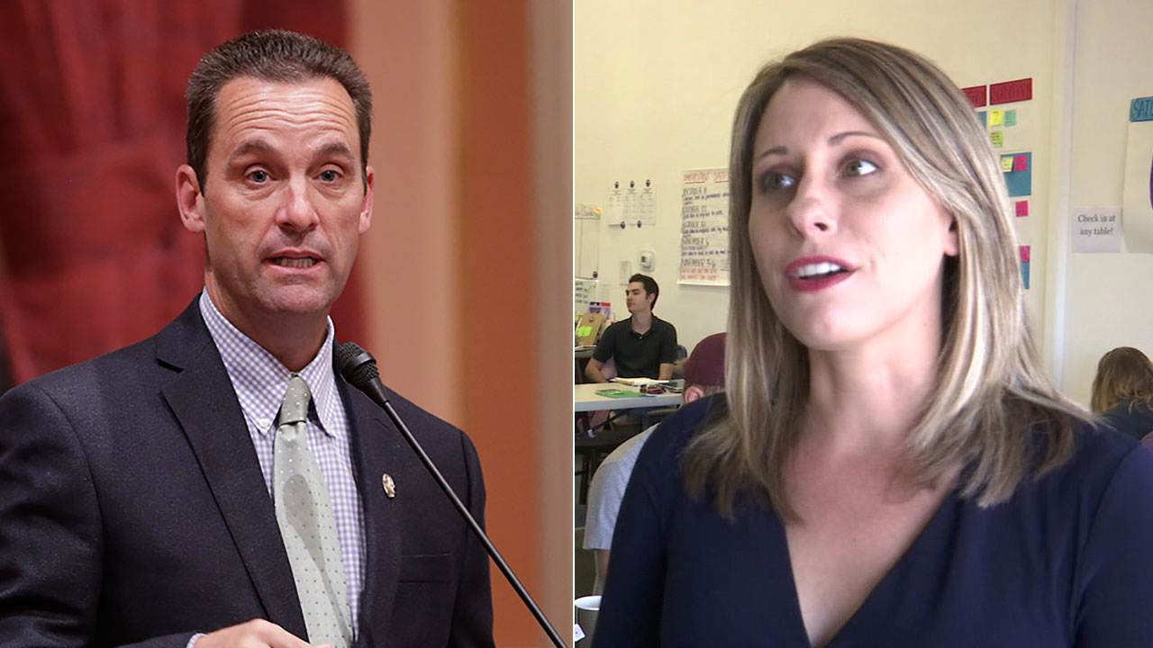 A split image shows U.S. Representative for Californias 25th congressional district Steve Knight (left) and his Democratic challenger Katie Hill.