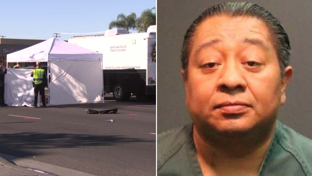 (Left) Police investigate the scene of a fatal hit-and-run crash in Santa Ana on Friday, Oct. 19, 2018. (Left) Booking photo of Juan Carlos Alcantara, 47.
