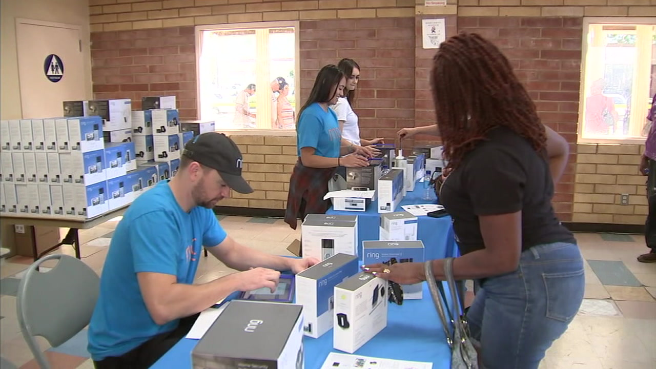 Lynwood residents lined up Saturday to buy Ring video doorbells at discounted prices as part of an effort to enhance neighborhood security.