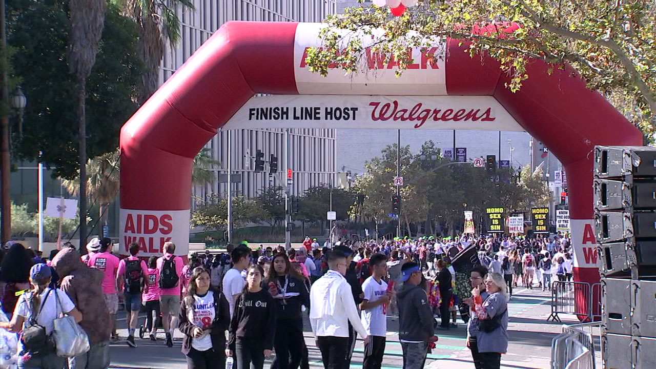 Crowds of people participate in AIDS Walk Los Angeles on Sunday, Oct. 21, 2018.