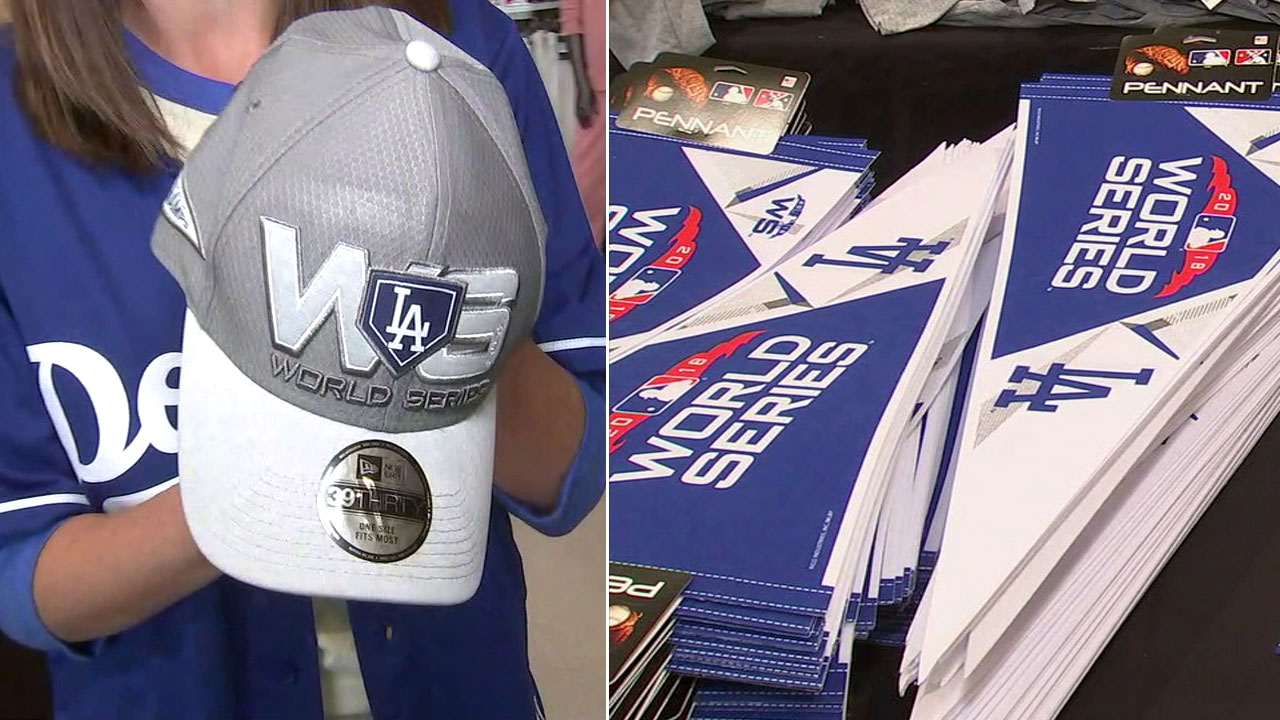 Los Angeles Dodgers World Series merchandise at Dicks Sporting Goods in Pasadena.