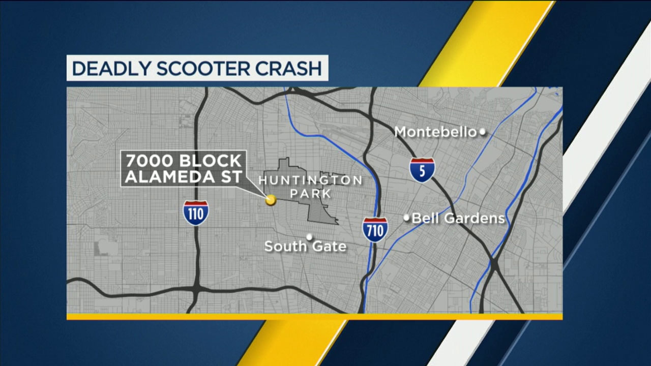 A map shows the area where a 28-year-old man on a Vespa-type scooter was struck and killed in Huntington Park on Sunday, Oct. 21, 2018.