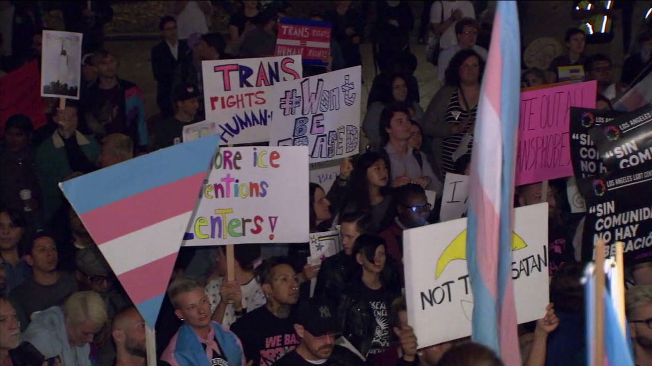 Transgender people and their allies protested in downtown Los Angeles on Monday over a new Trump administration proposed policy to define gender.