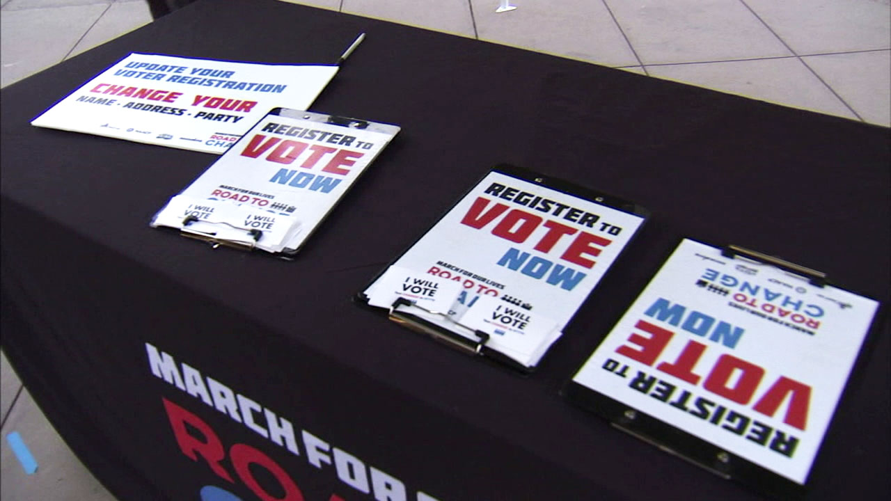 Vote now flyers are placed on a table ahead of the midterm elections.