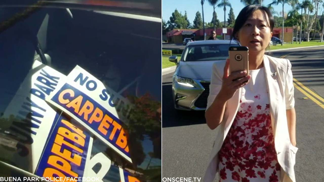 Youngsun Sunny Park, a candidate for the Buena Park City Council, is seen on video allegedly removing campaign signs.