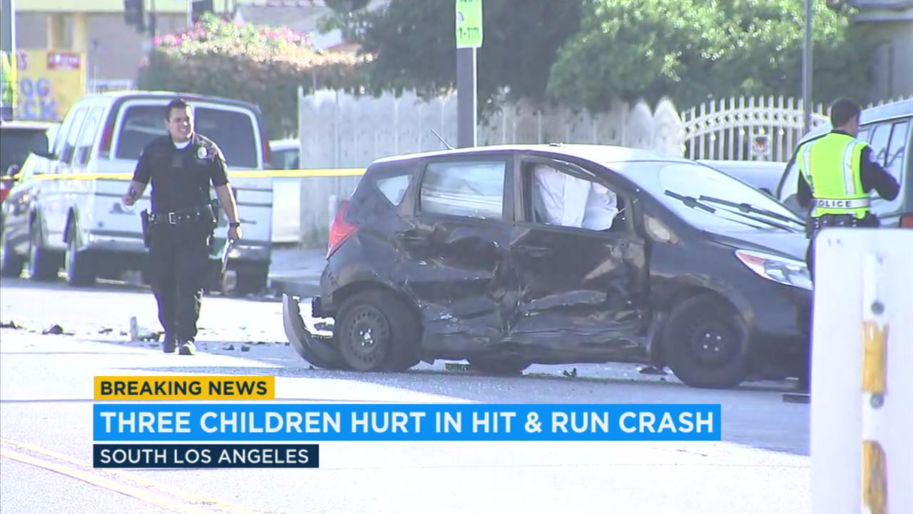 A hit-and-run crash in South Los Angeles that stemmed from suspects evading police on Tuesday, Oct. 23, 2018.