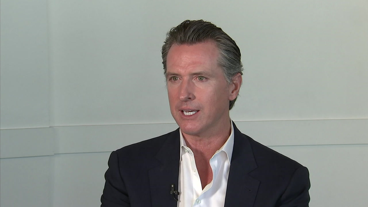 Gavin Newsom speaks in an interview with Eyewitness News.