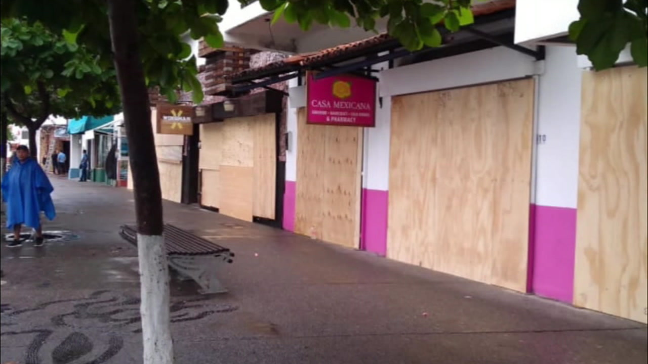 A boarded up business in Mexico is shown in preparation for Hurricane Willa.