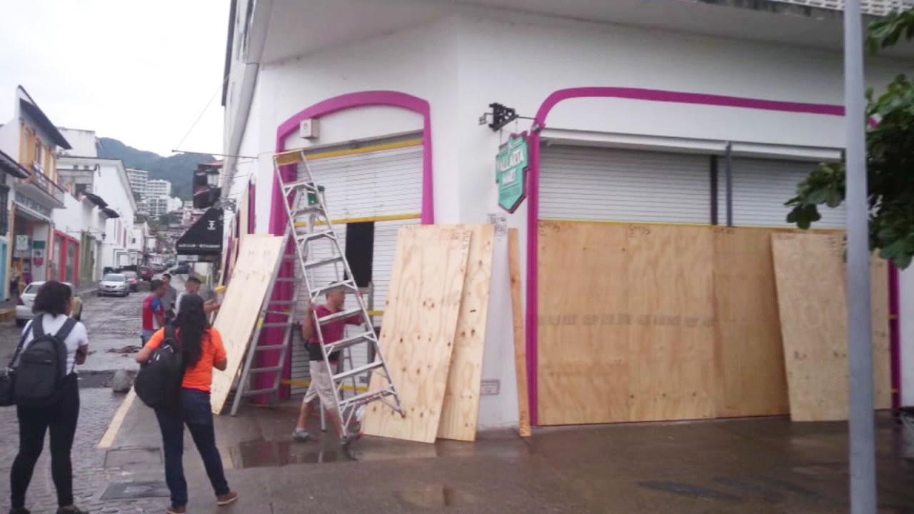 Windows are covered with wood ahead of Hurricane Willa near Mazatlan, Mexico.