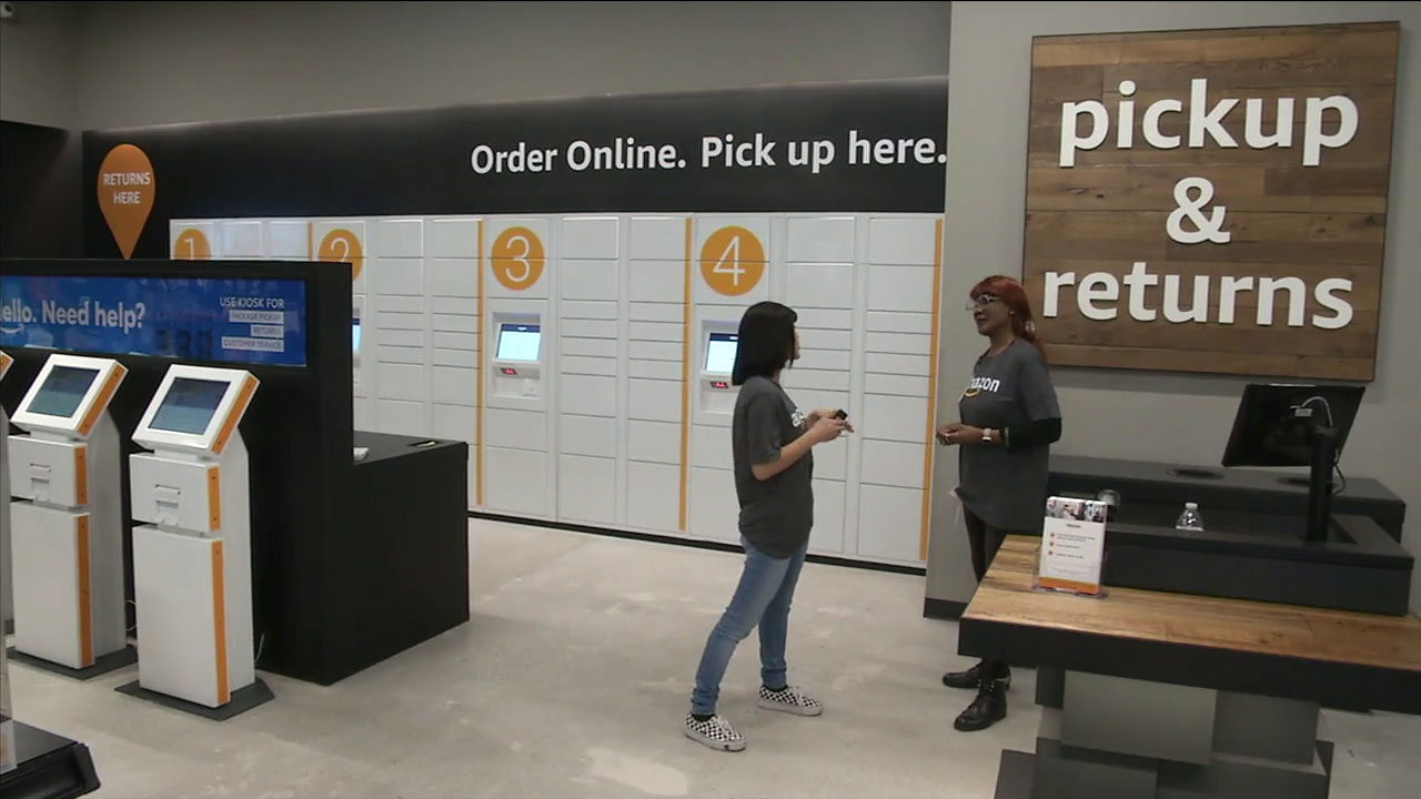 The inside of an Amazon Books store shows the Amazon Pickup location.
