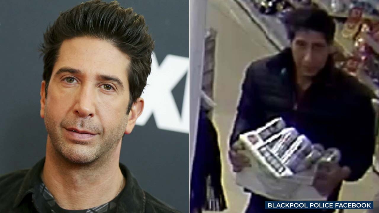 (Left) AP photo of David Schwimmer. (Right) Police in Blackpool, England, posted this image of a theft suspect to the departments Facebook page.