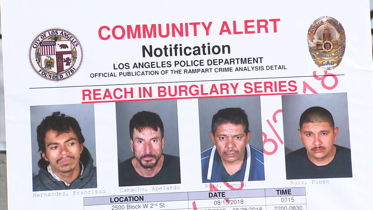 Four men are shown in a flyer after they were arrested on suspicion of a series of burglaries in the Rampart area.