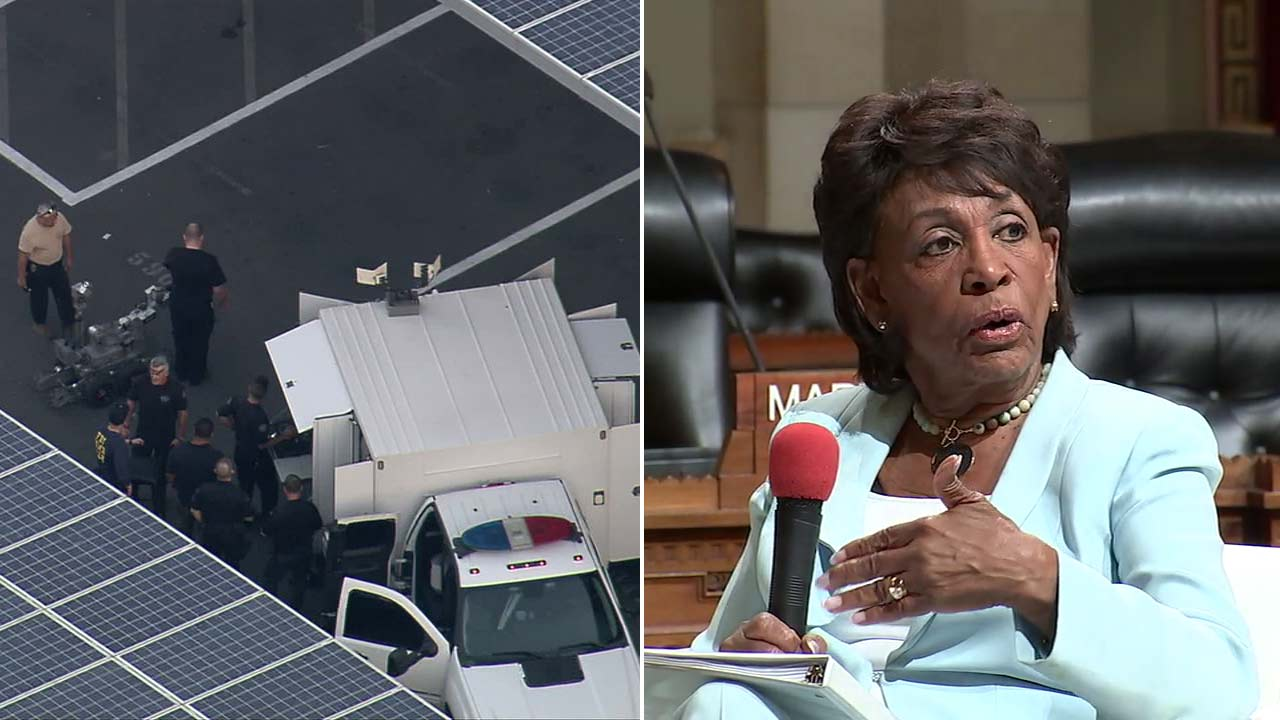 (Left) Authorities investigate a suspicious package in South L.A. addressed to U.S. Rep. Maxine Waters on Wednesday, Oct. 24, 2018.