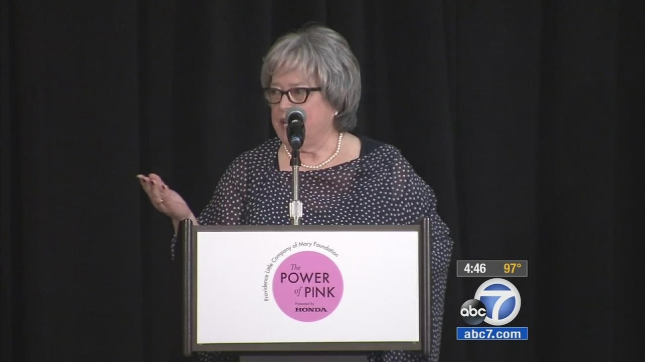 Award-winning actress Kathy Bates speaks during a conference in Torrance on Friday, Oct. 9, 2015.