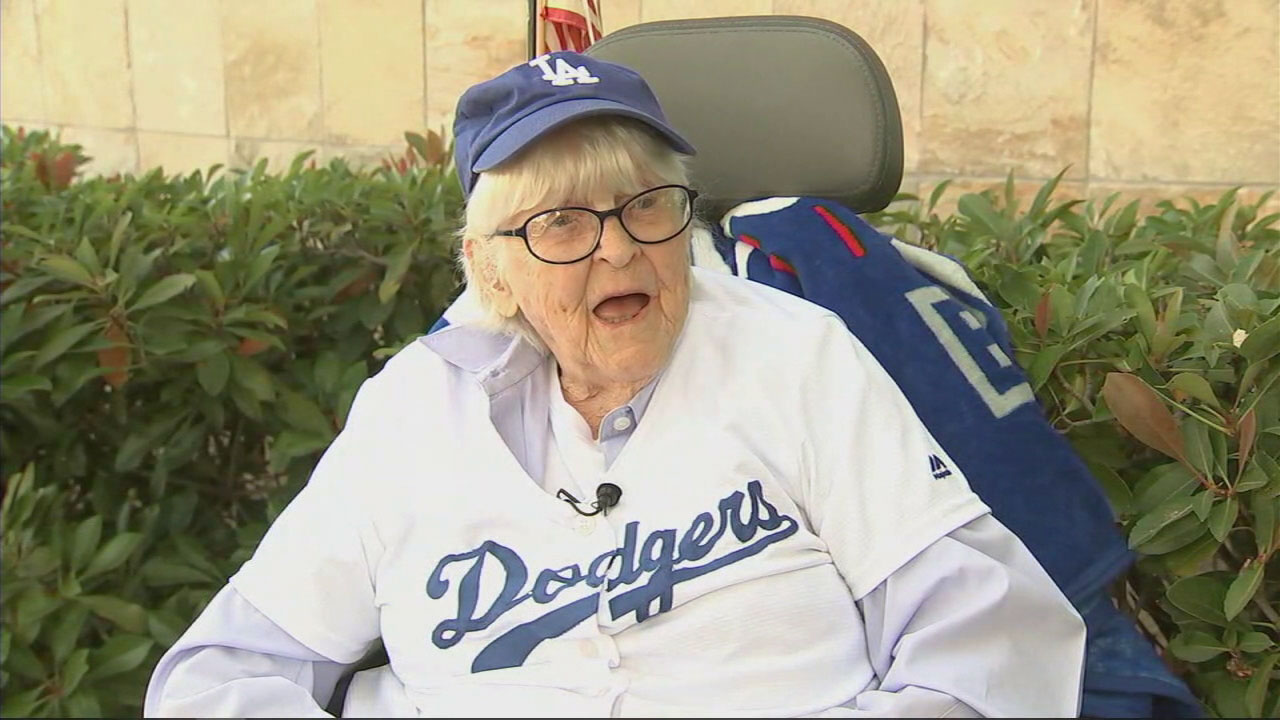 Ruthie Thompson, 108, is shown during an interview where she talks about being a die-hard Los Angeles Dodgers fan.