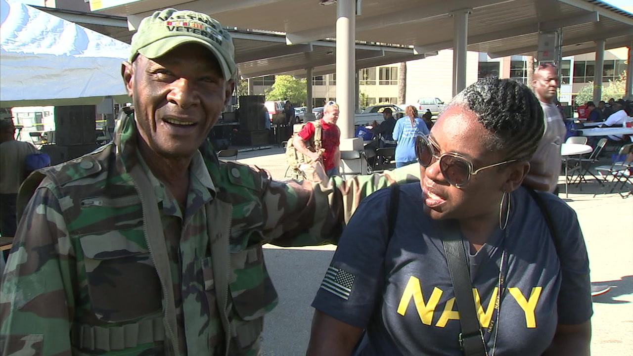 Formerly homeless veterans came out to the Stand Down VA event in Los Angeles.