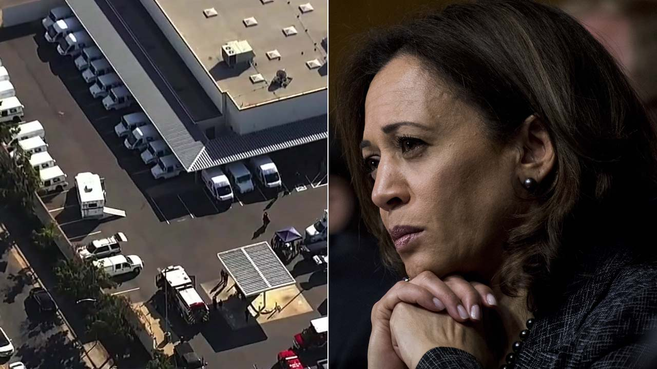 (Left) An aerial view shows a post office in Sacramento, where a suspicious package addressed to Sen. Kamala Harris was found on Friday, Oct. 26, 2018.