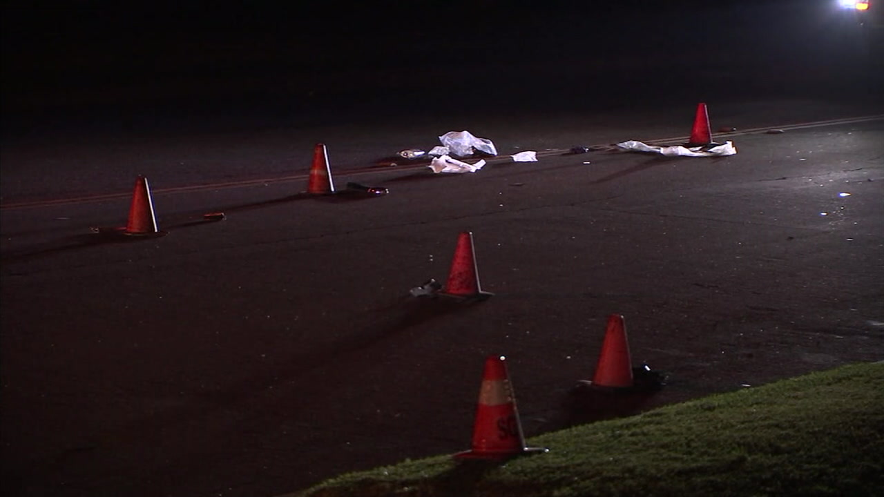 The scene of a fatal hit-and-run at a San Gabriel intersection is shown.