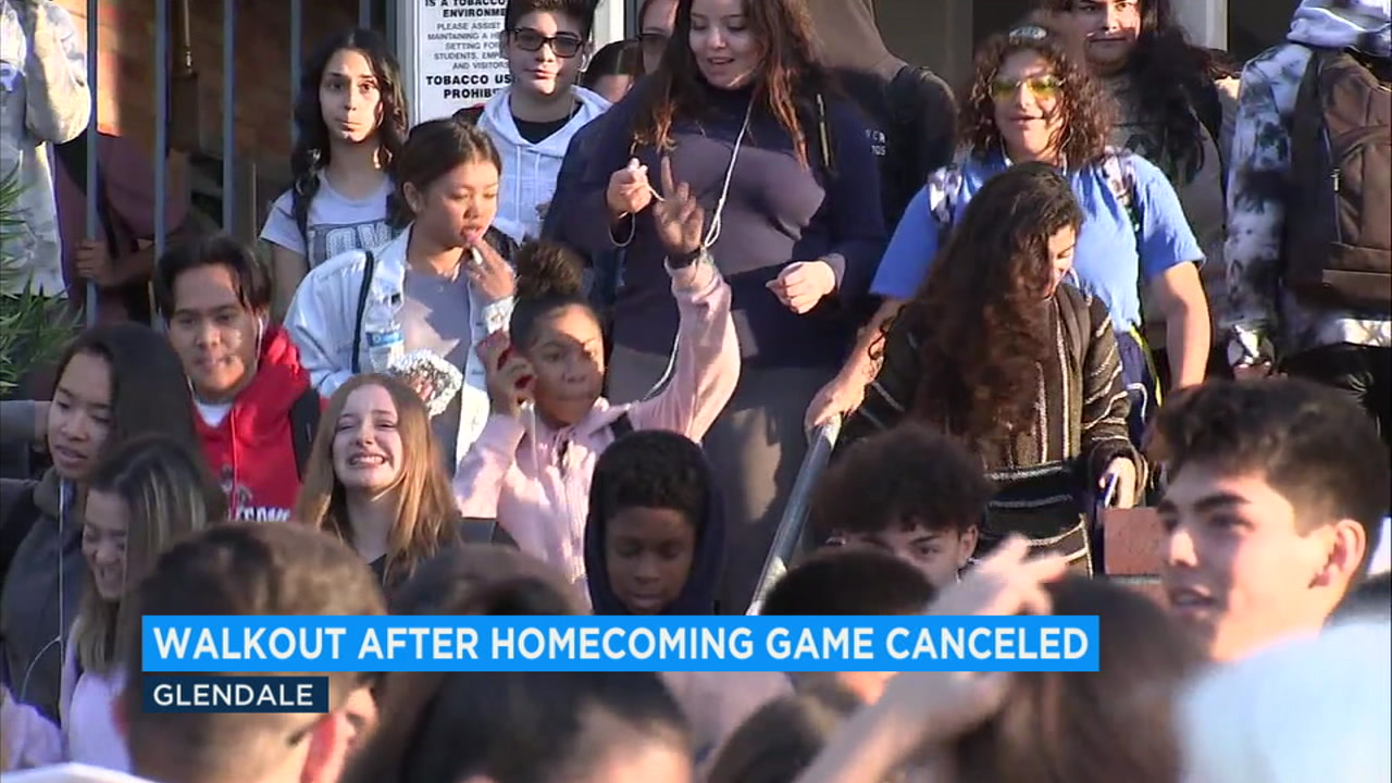 Students at Hoover High School in Glendale walked out of class Monday morning to protest the cancellation of the schools homecoming football game.