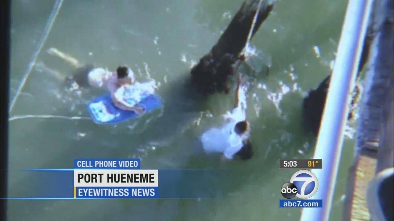 Video shows a young girl and her father being rescued after being caught in a rip current at Port Hueneme Beach on Sunday, Oct. 11, 2015.