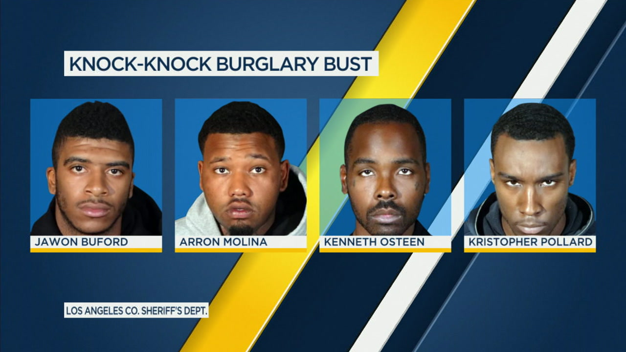 Four suspects arrested in connection to a series of knock-knock burglaries in Los Angeles County are shown in mugshots.