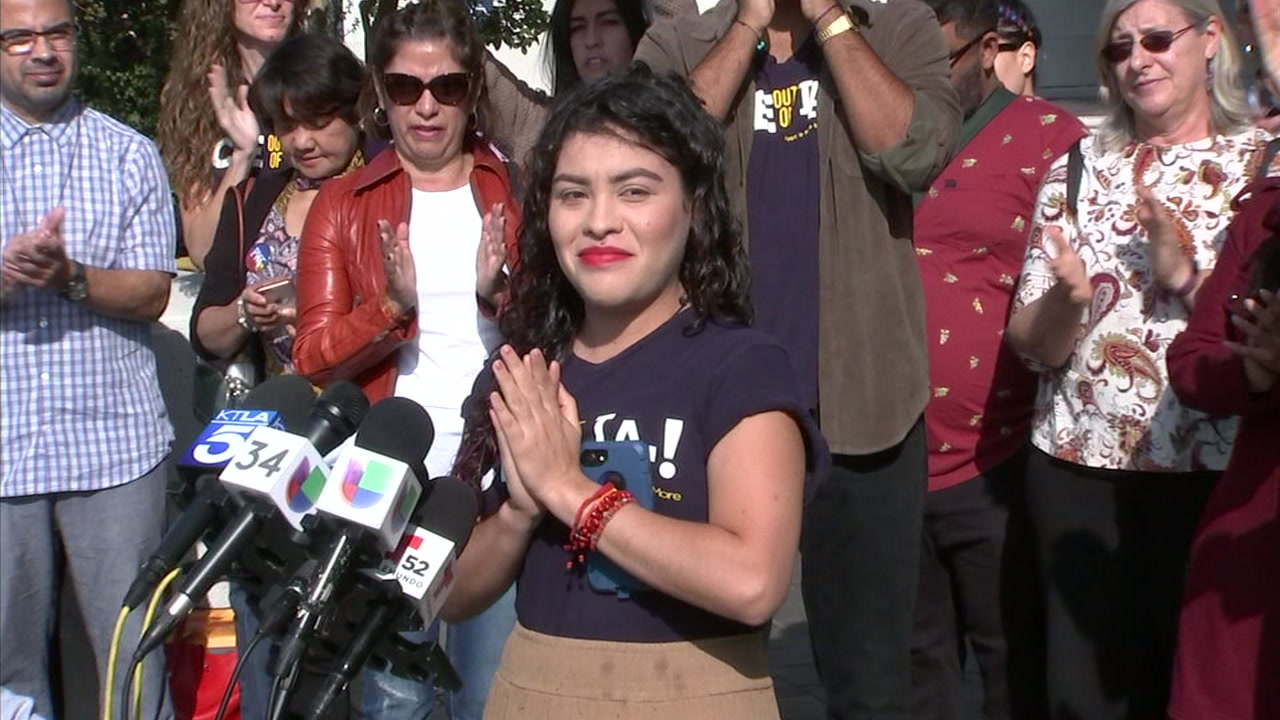 Claudia Rueda, a DACA activist and CSU Los Angeles student, is shown during a press conference where she said she has sued the government over her detention.