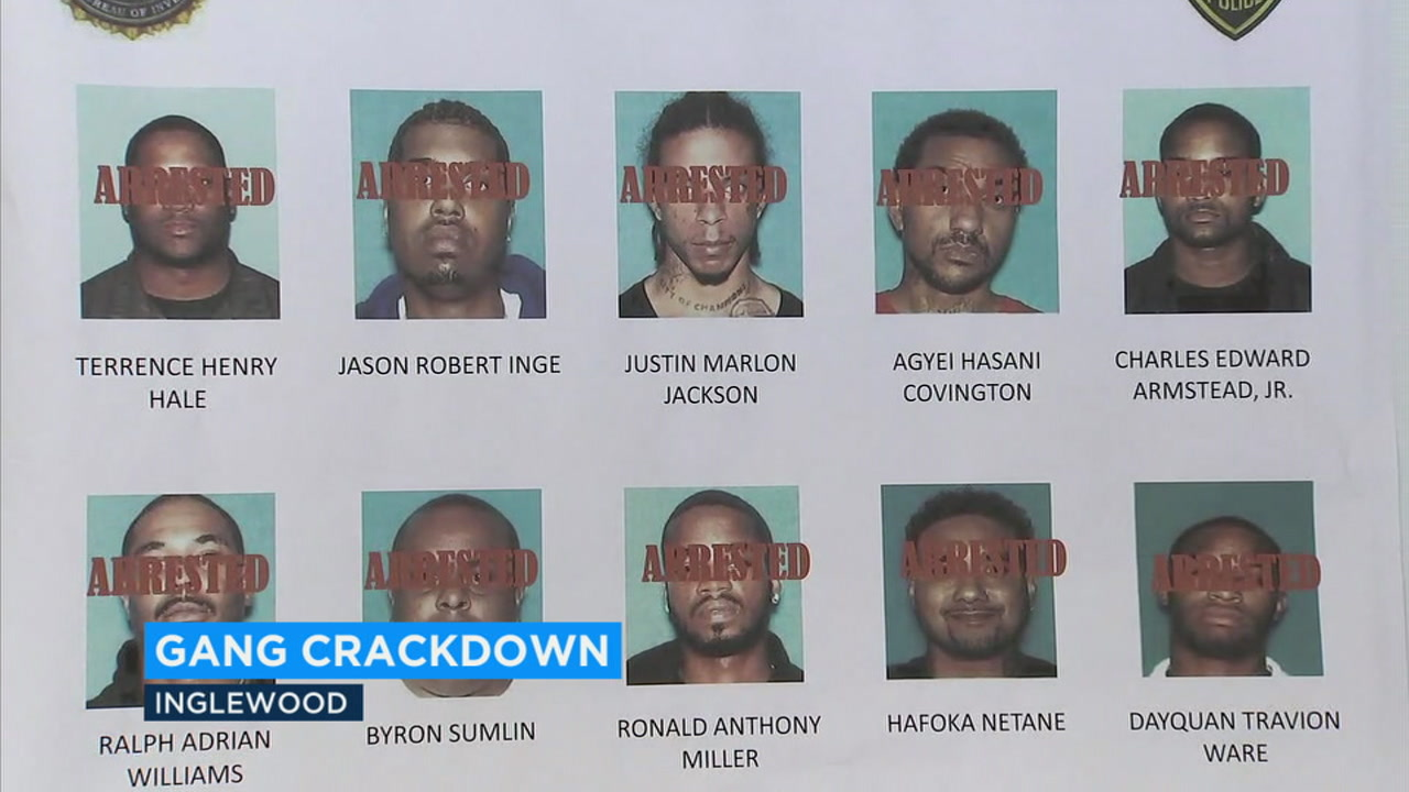 Federal and local authorities announced the arrests of 14 members of an Inglewood street gang that was allegedly involved in guns and drugs in 10 states.