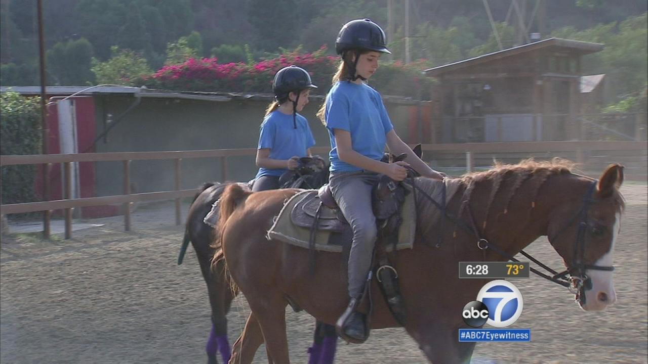 Young girls are seen horseback riding in Atwater Village Friday, Oct. 17, 2015.