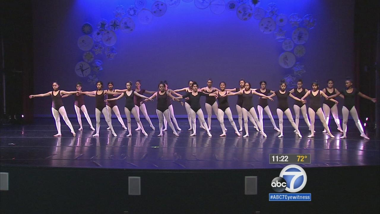 Nearly 2,200 budding ballet dancers were on stage in downtown Los Angeles Grand Arts High School Friday, and some of them danced ballet only for the first time this week.