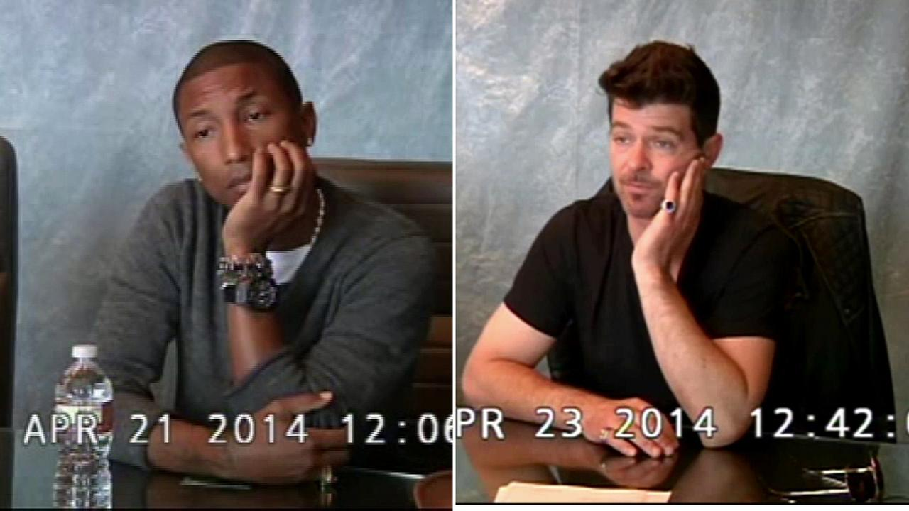 Musicians Pharrell Williams and Robin Thicke are shown in images taken from their deposition videos.