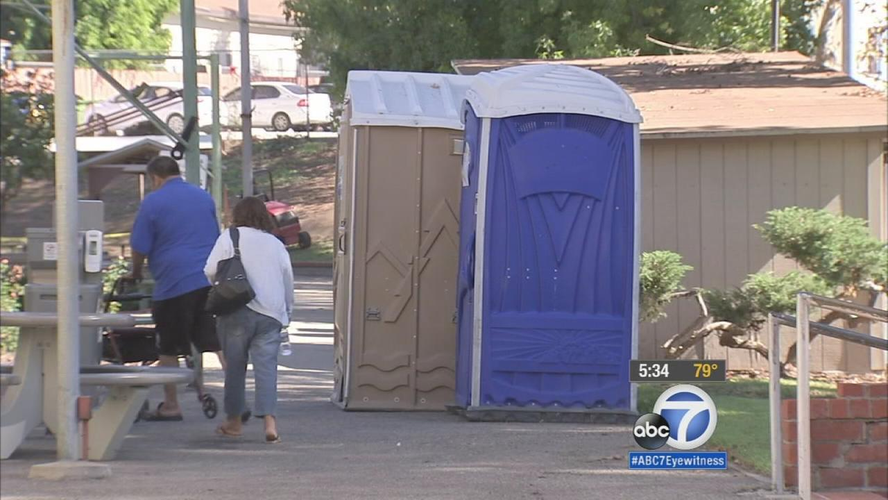 A project to renovate bathrooms at the Highland Park Adult Senior Citizen Center is causing seniors to use porta potties or cross busy streets to use toilets with running water.