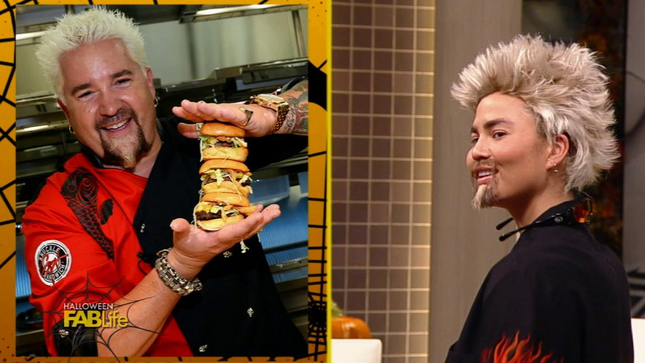 Chrissy Teigen dresses up as Guy Fieri for Halloween on the FabLife show that airs Friday, Oct. 30, 2015.