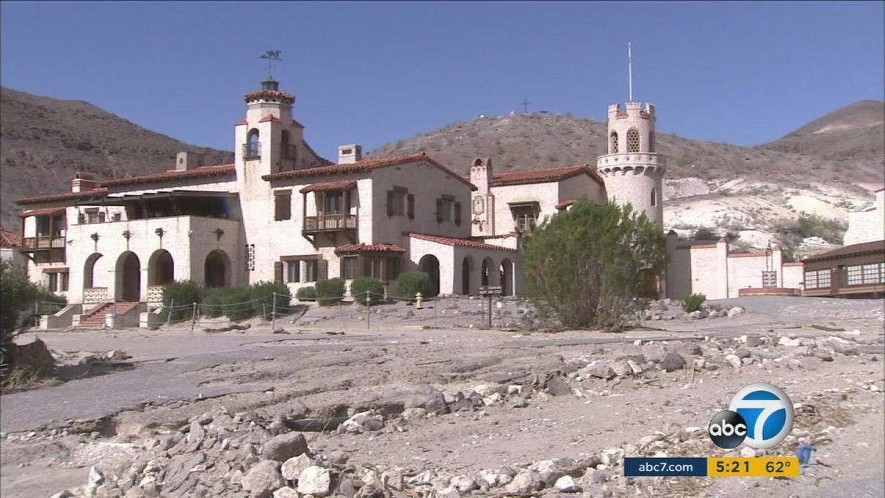 Scottys Castle was damaged after flash floods swept through Death Valley on Oct. 18, 2015.