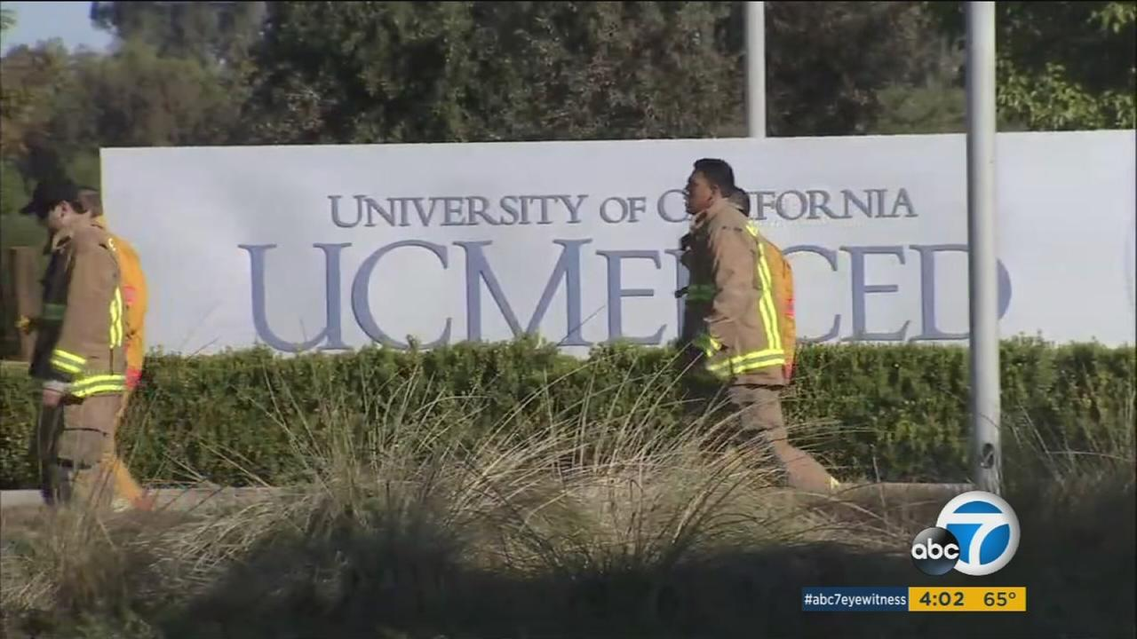 Scene at UC Merced after a student stabbed four people before being shot and killed by police on Wednesday, Nov. 4, 2015.