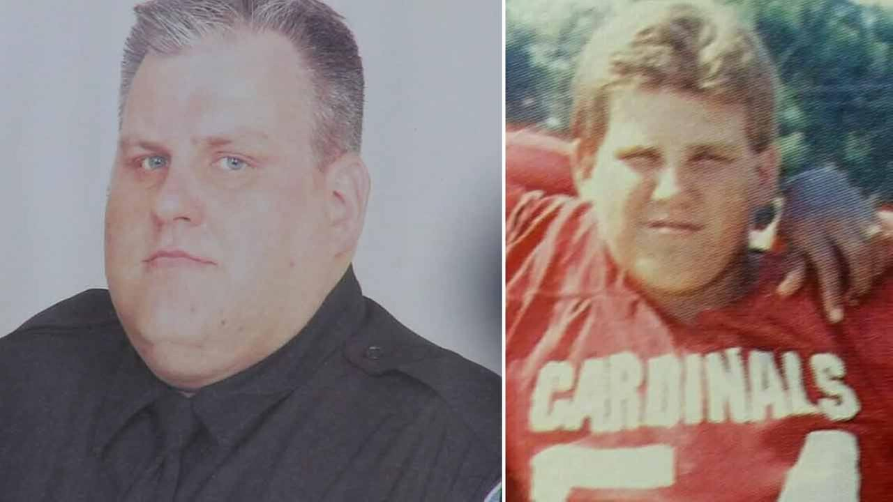San Bernardino police officer Bryce Hanes is pictured in his police uniform and is pictured in his San Bernardino High School football uniform.