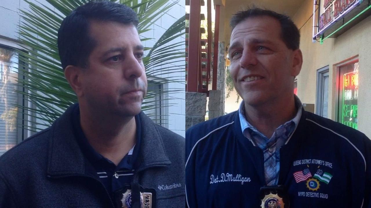 New York Police Department detectives Albert Ramos, left, and Dan Mulligan, right, are shown on Thursday, Nov. 19, 2015.