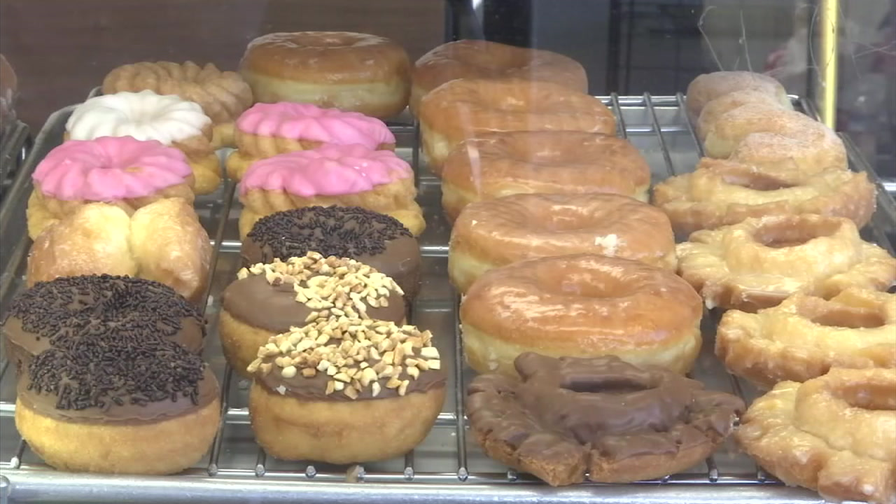Doughnuts at the Donut City shop in Seal Beach are shown in a photo.
