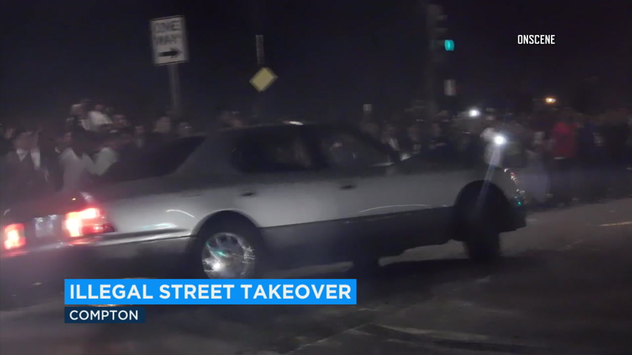 A wild illegal street takeover in Compton was captured on video.